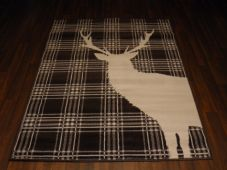 Modern Approx 6x4ft 120x160cm Woven Backed Stag Rug Sale Top Quality Brown Check
